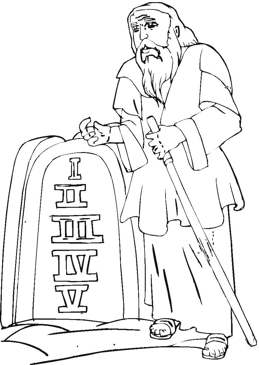 Coloring pages moses and ten commandments - Homeschooled Kids Com Moses Decalogue